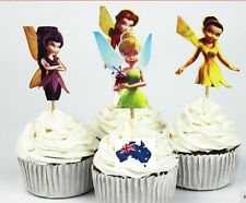 12 x Disney Tinkerbell Fairies CUPCAKE CAKE TOPPERS Children Birthday Party Deco