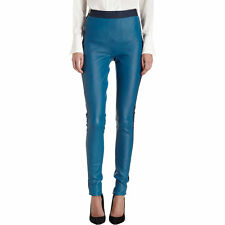NWT $1900 Les Chiffoniers Two Tone High Waisted Rise Leather Leggings Stretchy