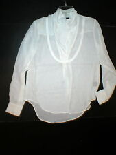 NWT LAMB New Ivory White Long Sleeve Silk Top Blouse 2 Womens Designer Office
