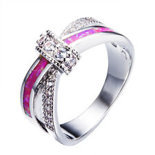 Pink Fire Opal Criss Cross Wedding Ring 10KT White Gold Filled Band Jewelry