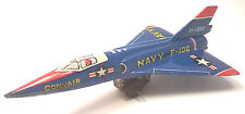"Vintage Navy Jet Convair Fighter Tin Toy Litho Airplane Japan 4.25"" SANKO ?"