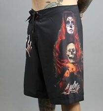 SULLEN CLOTHING ACUNA BADGE BOARD SHORTS SWIM TRUNKS  SKULL TATTOO BEACH 38