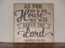 As for me and my house, Joshua 24:15,  Decorative tile saying plaque Bible verse
