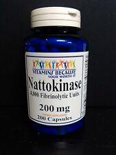 Nattokinase 200mg 4000 FU Per Capsule (Fibrinolytic Units) 200 Capsules