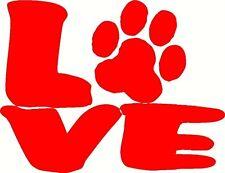 Love Dog Paw Print Decal bumper sticker for car, truck, glass paw print cat dog