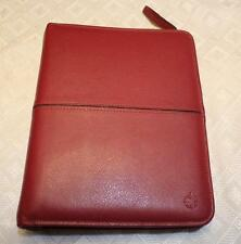 Franklin Covey PINK Zip Around Genuine Leather Organizer Binder Inserts 8x10 NEW