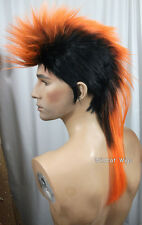 Quality MOHAWK Wig ..Unisex .. Black tipped in ORANGE