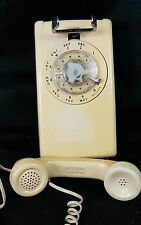 Vintage Western Electric Wall Mount Telephone 554 BMP Yellow Beige Rotary Phone.