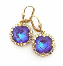 CATHERINE POPESCO Ultra Purple w 17 Stone Border Swarovski Gold Earrings 1 1/4""