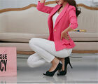 Fashion Women Casual Blazer One Button Candy Color Long Sleeve Suit Jacket Coat