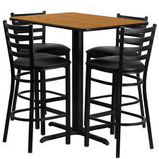 Restaurant Table Chairs 24''x42'' Natural Laminate with 4 Ladder Metal Bar Stool
