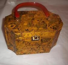 Anton Pieck Purse Wooden Decoupauge Lucite Handle 1800's Pictures Box Purse