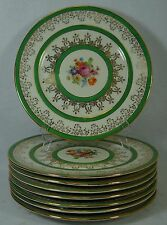 ROYAL china BAVARIA - FLORAL & GOLD FILIGREE Eight (8) SERVICE Plates 10-3/4""