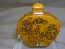 """Vintage Carved Small Bottle Asian Design 1 3/4"""" tall Miniature Chinese Perfume"""