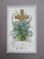 BOOKMARK Card Vintage Greetings Religious Christmas Cross Forget Me Nots OLD