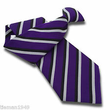 Purple Security Clip On Tie Clipper with Black and White Stripes