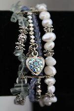 KIRKS FOLLY Multi Strand Bead GENUINE PEARL Blue Aurora Borealis Charm Bracelet