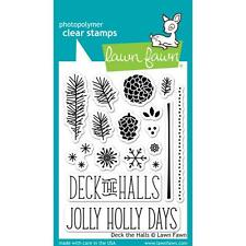 Lawn Fawn Photo-polymer Clear Stamp Set Deck The Halls Pine Cones Holidays
