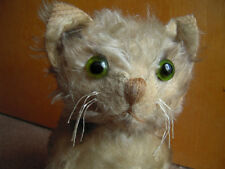Antique RARE KITTEN CAT Mohair with Green Glass Eyes Straw Stuffed