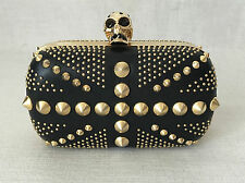 Alexander McQueen Black Leather Rockstud Union Jack Skull Clutch Box Handbag