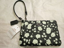 Coach Corner Zip Wristlet Floral Leather Chalk Prairie Calico $75 Auth. New NWT