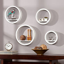 MWM88043 WHITE 4PCS CIRCLE WALL MOUNT DECORATIVE CORCLE SHELVES SET