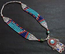 N243 Handmade Tibetan Silver Turquoise Coral lapis resin women Necklace NEPAL
