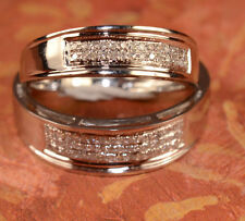 His Hers Diamond White Gold Multiple Wedding Band Set Bride And Groom Bands