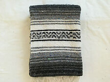 "AUTHENTIC BLACK MEXICAN FALSA BLANKET HAND WOVEN YOGA MAT BLANKET 72""X 54"""
