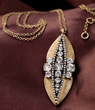 New Fashion Long Necklace Women Costume Jewelry Crystal Peapod Pendant Necklace