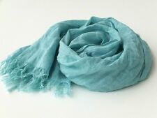 Mint Green Scarf Wrap Shawl Long Gauze Linen Solid Lightweight Summer Blue Green