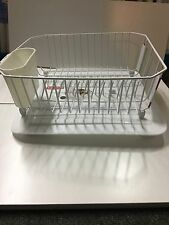 NEW RUBBERMAID SMALL WHITE KITCHEN TWIN SINK DISH DRAINER MAT TRAY UTENSIL CUP