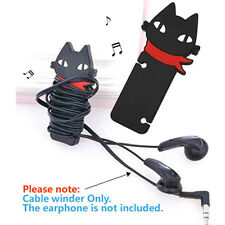 Black Cat Headphone Earbud earphone Cord Cable Rubber Winder Manage Organizer