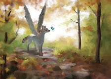 Fantasy Winged Fox in Forest magic magical illustration art print - Brandy Woods