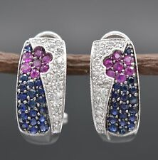 #JE379 14K White Gold Diamond & Blue and Pink Sapphires Earrings