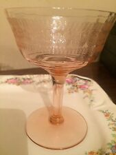 Pink Etched Optic Depression Glass Champagne Sherbet Set of Two