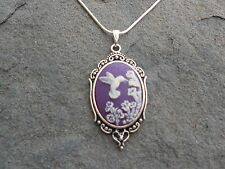 HUMMINGBIRD CAMEO NECKLACE  (humming bird/purple) 925 PLATE CHAIN- QUALITY