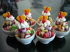 Set of 6 Fruit Ice-Cream Sundae in Plate/Bowl Dollhouse Miniatures Food Deco-10