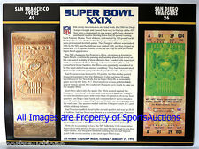 SAN FRANCISCO 49ERS  CHARGERS Willabee Ward 22KT GOLD SUPER BOWL 29 TICKET XXIX
