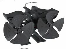 8 Blade double heat powered stove fan twin blade twin motor fan