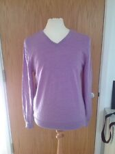 100% Extra Fine Wool Jumper Pullover Lilac Size L Charles Tyrwhitt