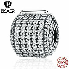 2017 New Authentic 925 Sterling Stopper Pave Barrel, Clear CZ Clip Charms Buckle