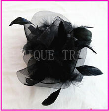 2 Colors Elegant Lady Fascinators Feather Hat with Clip Red and Black