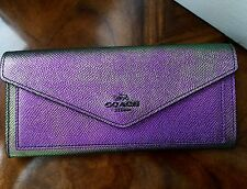 NWT Coach HOLOGRAM Purple Iridescent Texture Leather Slim Soft Wallet Clutch 03