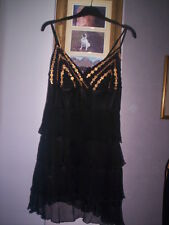 WORN ONCE SEQUINED LINED SILK LIPSY LONG TOP/DRESS SZ 10
