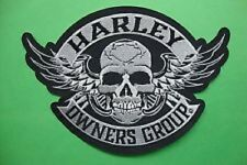 "Genuine HARLEY DAVIDSON 5 inch ""Skull & Wings"" HOG EMBROIDERED PATCH"