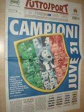 TUTTOSPORT 06/05/2013 JUVENTUS CAMPIONE D'ITALIA SCUDETTO 29 31 JUVE SPORT NEW