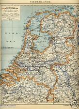 1908= OLANDA = Antica Mappa= OLD MAP= Paesi Bassi