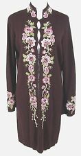 Josephine Chaus Long Duster Sweater S Womens Maroon Floral Cardigan Jacket Coat