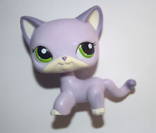 Littlest Pet Shop Green Eye Purple Short Hair Siamese Cat Kitty Figure Child Toy